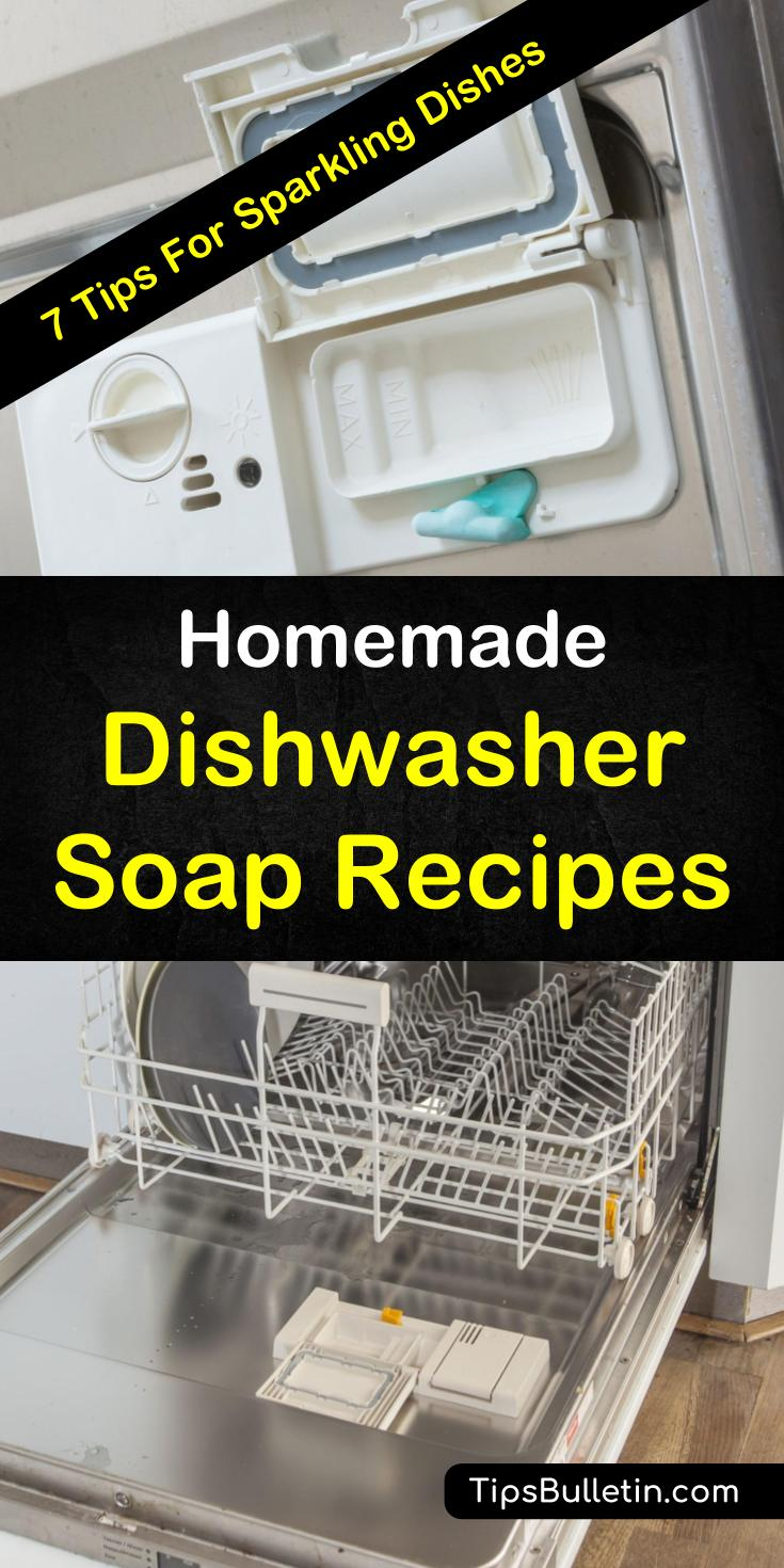 Here are a few easy recipes for how to make homemade dishwasher soap to produce the cleanest dishes. Whether you prefer liquid, tablets, or powder soaps, you are sure to enjoy these recipes! #cleandishes #sparklydishes #homemadesoap