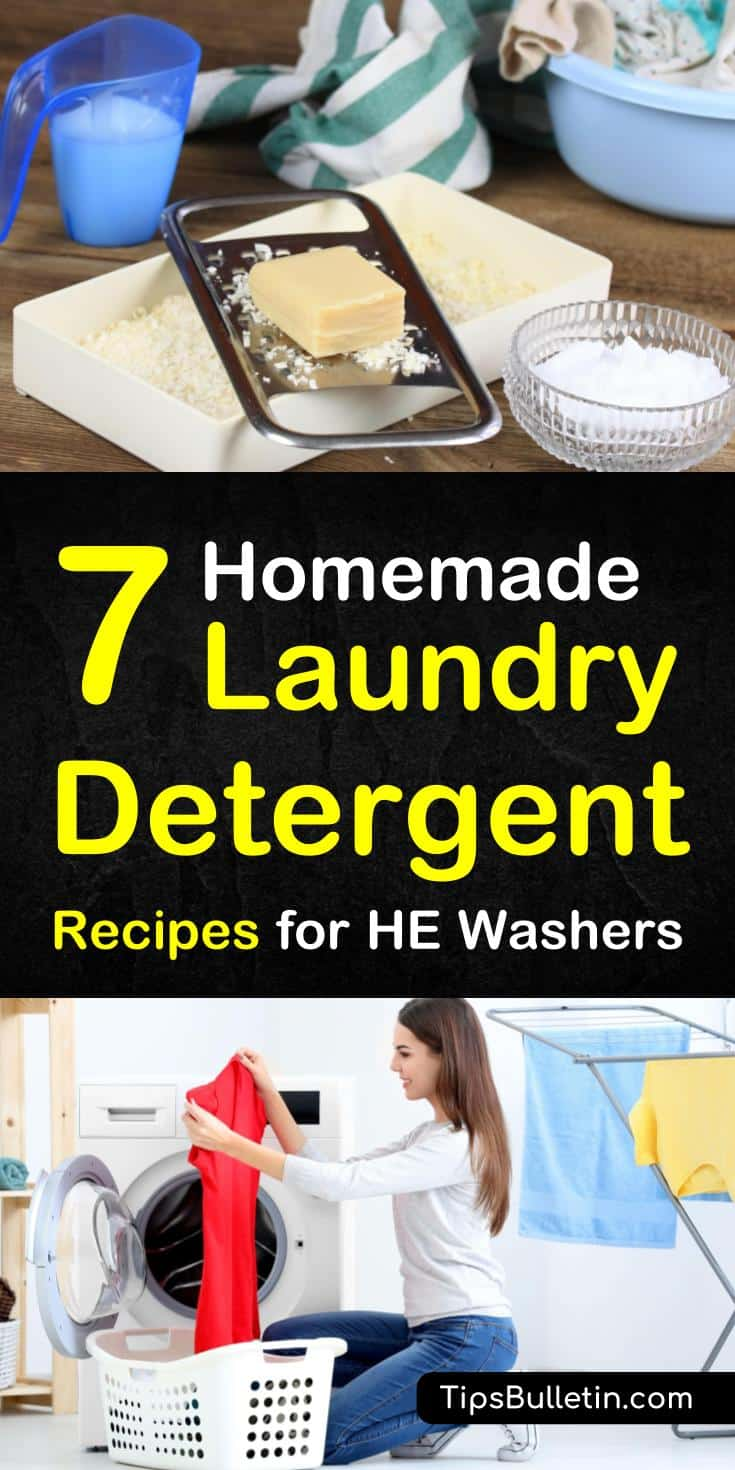 Go all-natural with your laundry detergent and explore the wonders of DIY laundry soap. Learn how to make your own homemade laundry detergent for HE washers with these 7 fun recipes. Wash more with less #diynaturaldetergent #noborax #laundry