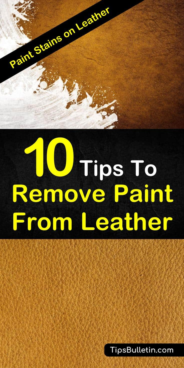 Learn how to get simple DIY paint stain removers for leather with baking soda and vinegar solution, olive oils, hydrogen peroxide, and many others. #leathercleaning