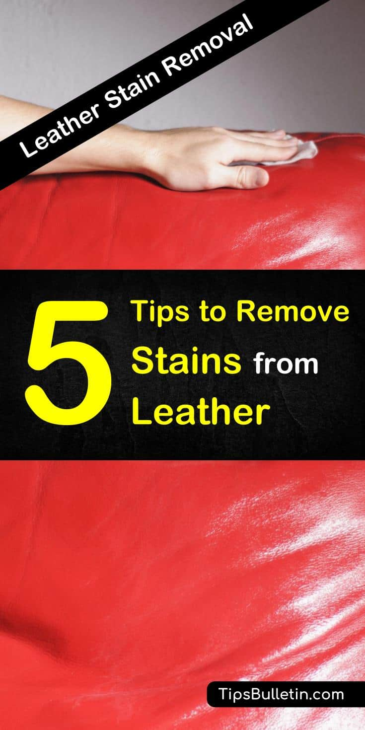 Learn how to remove stains from leather using simple ingredients like water and vinegar. Get those unwanted stains out of your favorite leather items, like your couch, jacket, club chairs, boots, bags, and much more. #leatherstains #cleanleather