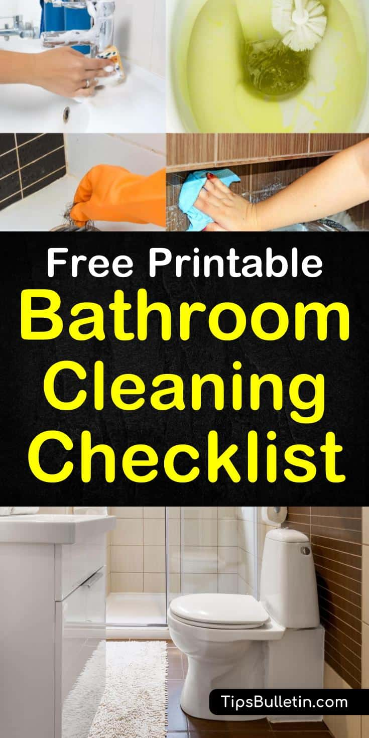 Discover an easy to use bathroom cleaning checklist to get through the chore of cleaning your bathroom. With this free, printable bathroom cleaning checklist you can get through your home chore list in no time. Clean all your house bathrooms in no time. #cleanbathroom #bathroomchecklist #bathroom