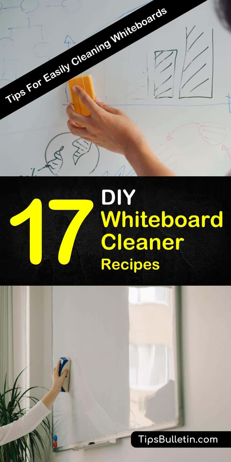 Use rubbing alcohol, baking soda, or other household items to restore that dingy whiteboard with one of our DIY whiteboard cleaner recipes. Learn how to create your own whiteboard spray cleaner. #whiteboardcleaner #spraycleaner