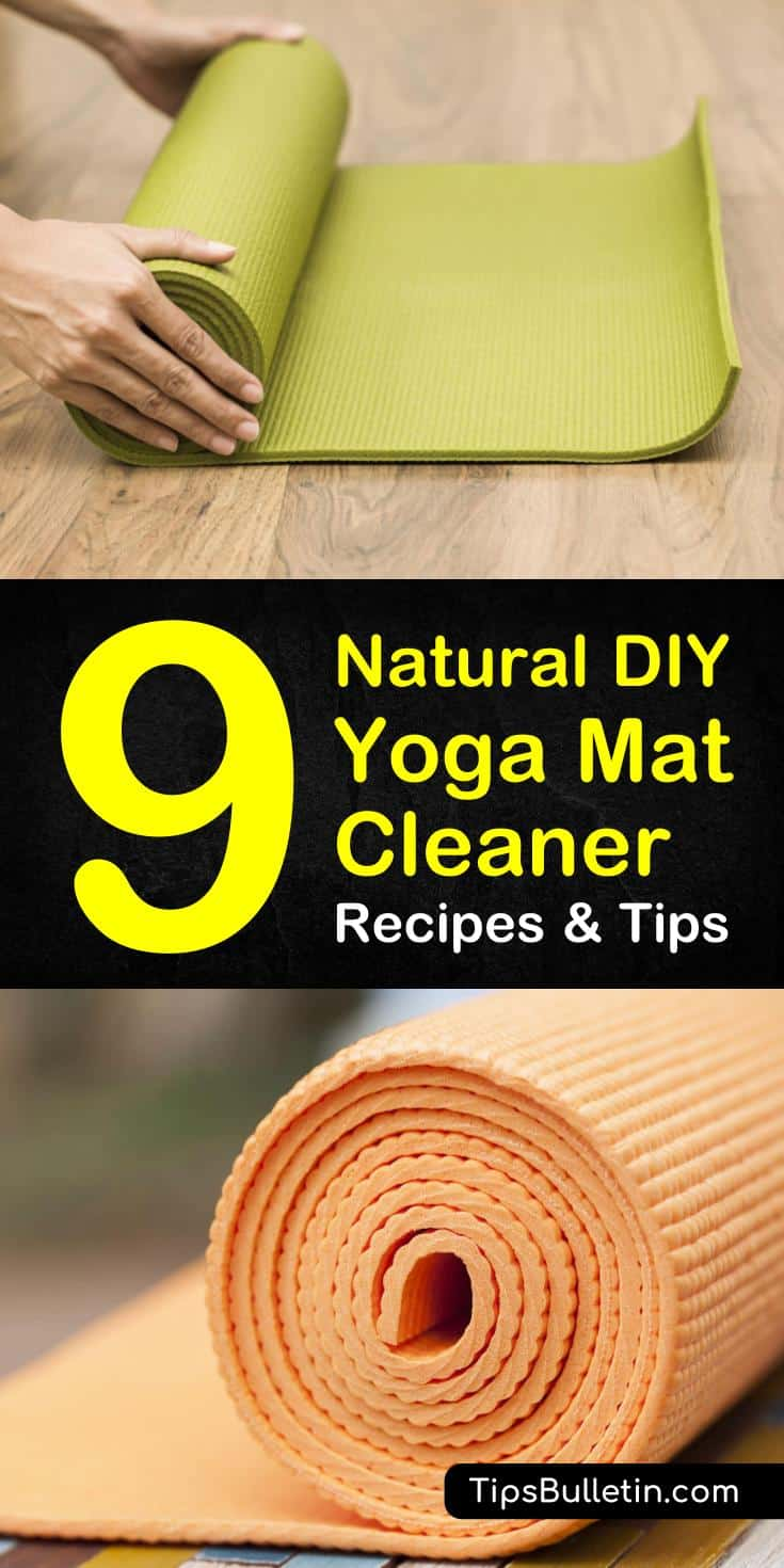 Get your yoga mat looking and smelling like new with one of our DIY yoga mat cleaner recipes. These all natural recipes use essential oils, vinegar or witch hazel to clean and deodorize. #cleanyogamat #nomoregerms #yogamat #yoga #cleaning