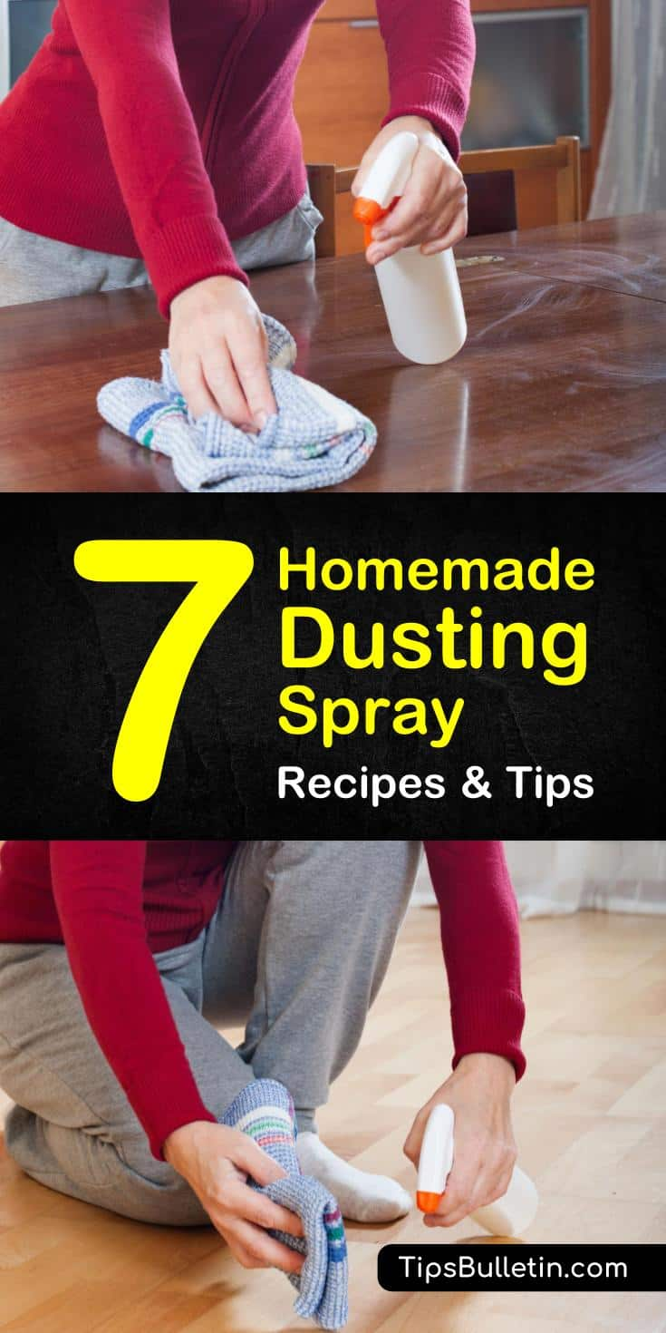 Try these homemade dusting spray recipes to get rid of dust and live healthier and cleaner. These DIY natural recipes are safe for your furniture and include lemon essential oils, recipes with white vinegar and without vinegar, baking soda. #dustfree #dust