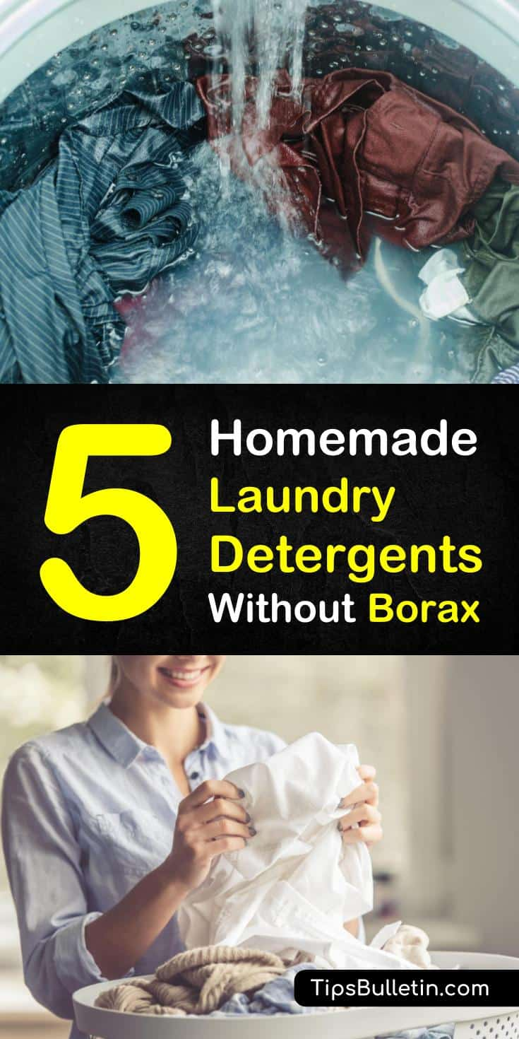 Learn how to make liquid and powder laundry detergent without borax! These simple recipes will save you money and use ingredients that are easy to find, like vinegar and essential oils! #fabricsoftener #laundrydetergent #sensitiveskin #bora