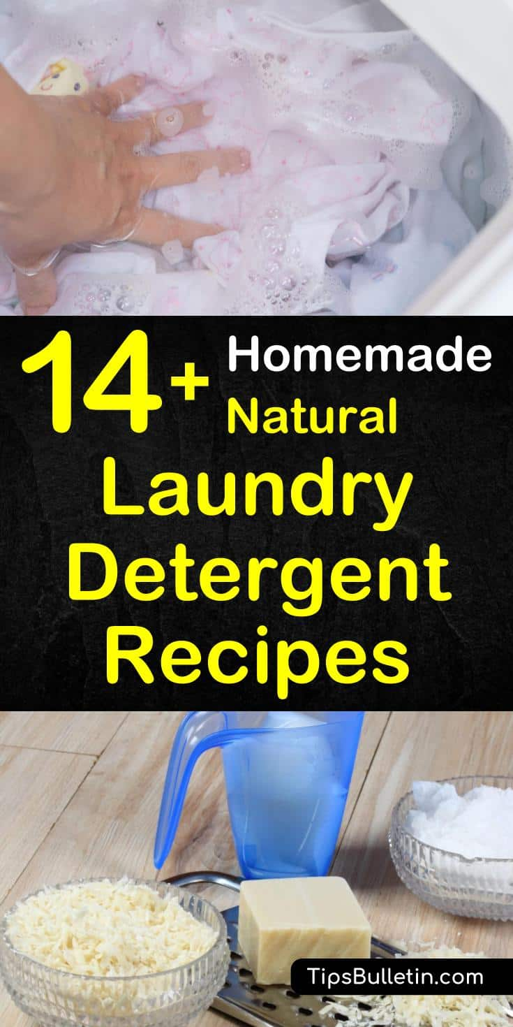 Try a homemade natural laundry detergent at your home. We list multi-use easy DIY natural laundry soap which are made from essential oils, baking soda, and fels naptha - all are free from chemicals, eco-friendly, and safe on sensitive skin. #laundry #detergent #DIY