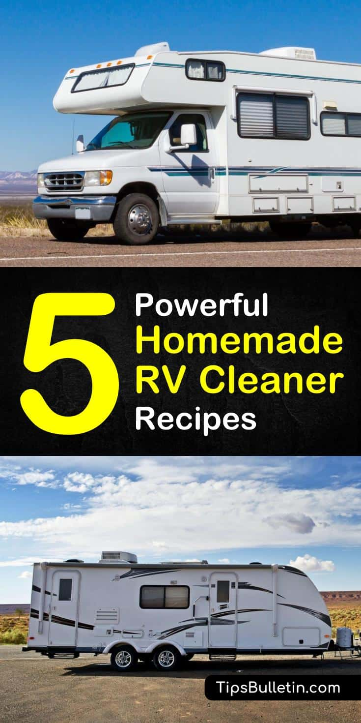 Discover how to create a homemade RV cleaner along with cleaning tips for the interior and exterior of your vehicle. Use simple ingredients to blend solutions together to remove the most difficult stains and dirt marks. #rvcleaner #rv #diycleaner