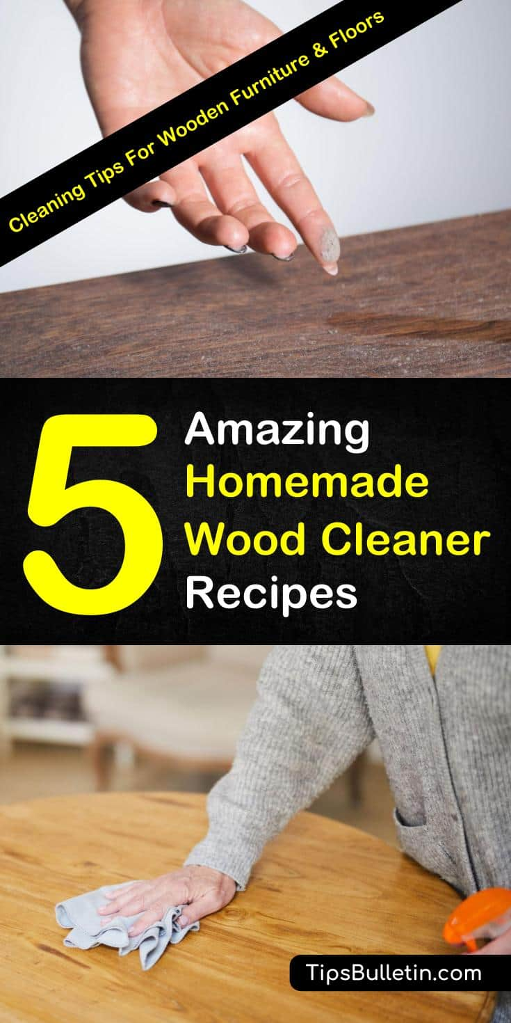 Learn how to clean and polish hardwood floors and furniture using products like baking soda, lemon essential oils, and vinegar. These 5 DIY tips will teach you how to make homemade wood cleaner. #woodcleaner #cleaningwood