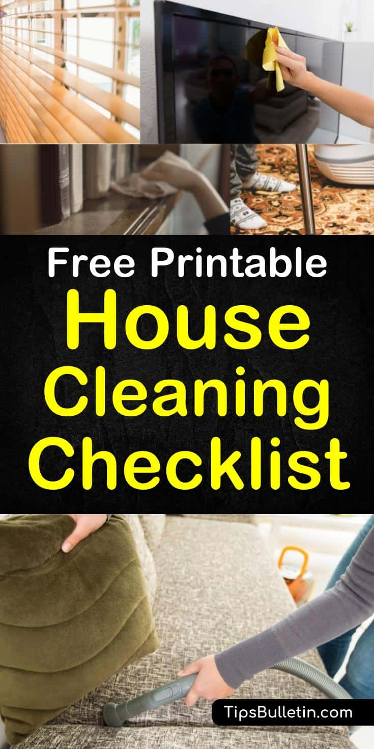 Learn how to quickly and efficiently clean your house room by room with this easy, printable house cleaning checklist. Use the check lists to follow a daily, weekly, and monthly cleaning schedule to clean your entire house. #housecleaning #printablecleaningchecklists #cleanyourhouse
