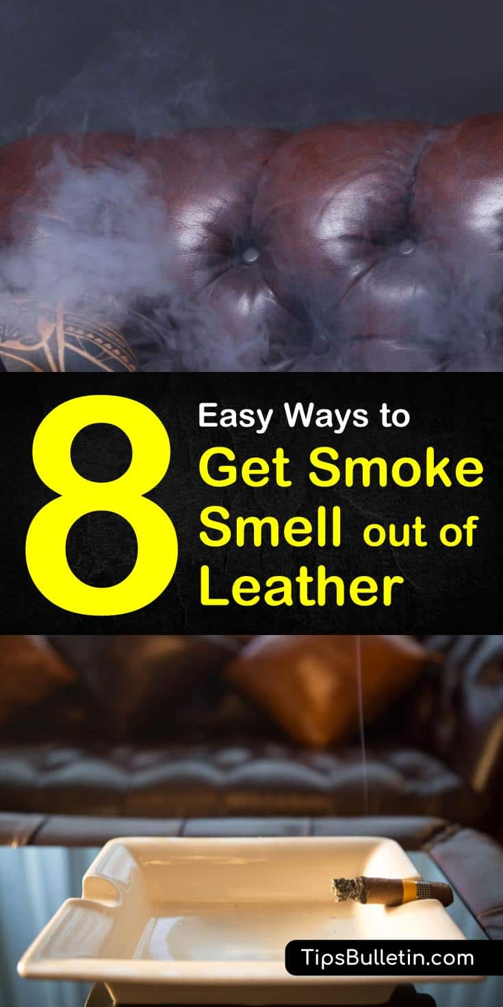 Tips and tricks on how to get smoke smell out of leather furniture as well as leather bags and jackets. Learn the best ways to banish the bad lingering odor of nicotine in your house by using baking soda, vinegar, and dryer sheets. #cigarettesmoke #tobaccosmell #nicotine #smokeresidue