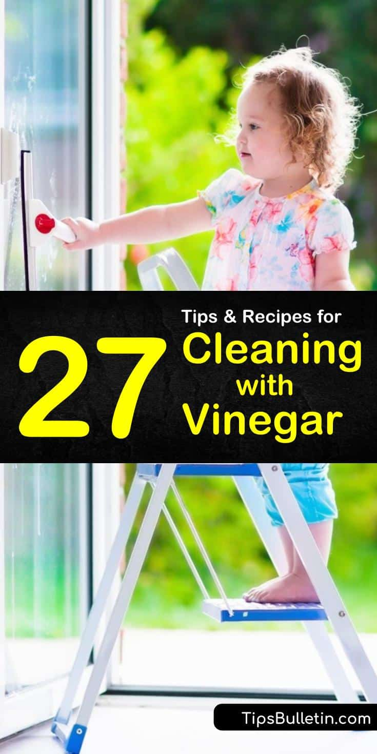 Learn how cleaning with vinegar can get everything from the bathroom to kitchens to floors sparkling clean and germ-free. You can use vinegar as a laundry booster, and as a simple way to clean windows. #vinegar #cleaning #whitevinegar #vinegarcleaner
