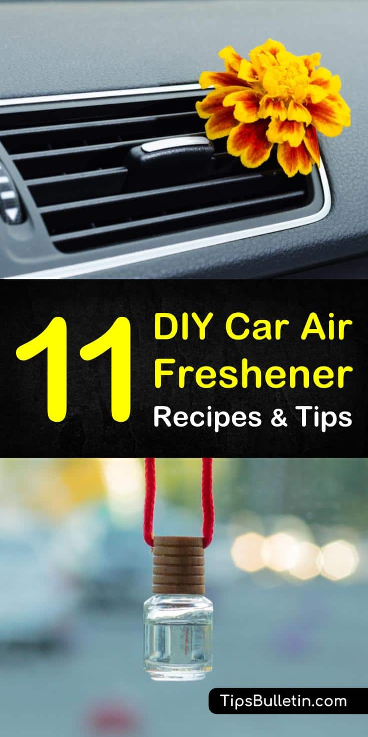 Learn how to make your own DIY car air freshener. These recipes use everyday ingredients like baking soda and essential oils. Create easy to make DIY projects with mason jars, and beads to get your car smelling clean and fresh. #carairfresheners #DIYairfresheners #carcleaning