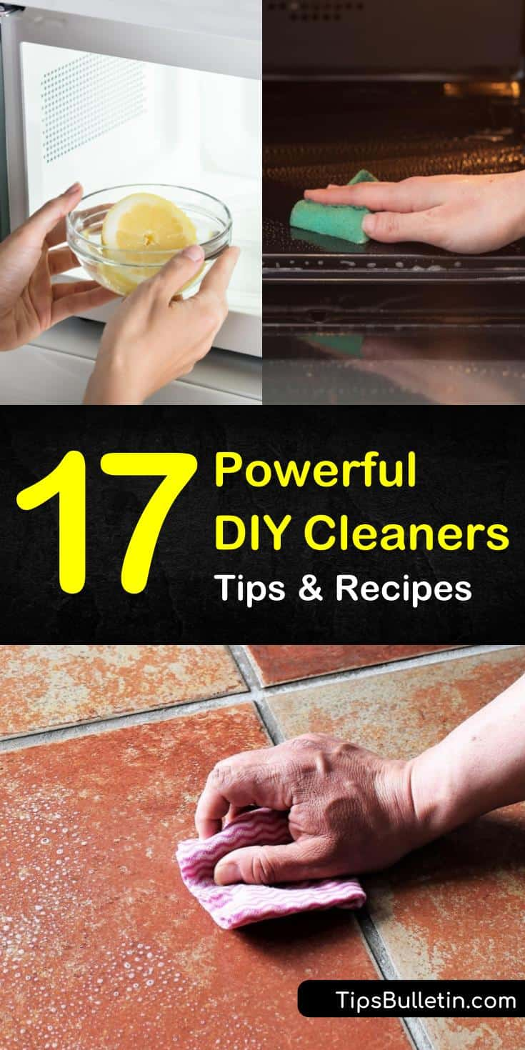 Discover 17 recipes for powerful DIY cleaners that will help you get your entire house clean. These natural recipes use ingredients like vinegar combined with essential oils. Learn how to make scrubs, all-purpose cleaners, and carpet cleaners quickly. #diycleaners #wholehouseclean #cleaning