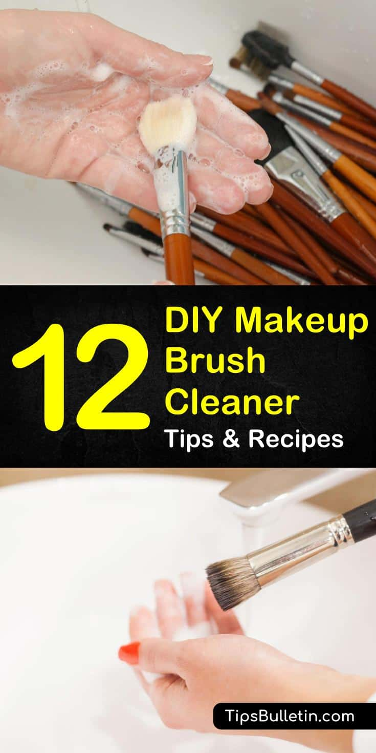 Try these 12 easy ways to make your own DIY makeup brush cleaner! With recipes that include gentle ingredients like coconut oil, witch hazel, baby shampoo, and vinegar, these diy cleaners will save you time and money. #diymakeupbrushspray #naturalingredients #easymakeupcleanerrecipes