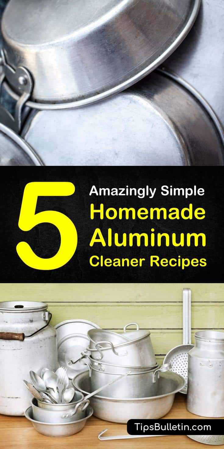 Learn how to make a homemade aluminum cleaner for pans, pots, and utensils at home using products like water and essential oils. These DIY cleaning tips will teach you how to clean and polish aluminum surfaces using cream of tartar, vinegar, and other natural remedies. #aluminumcleaner #aluminum