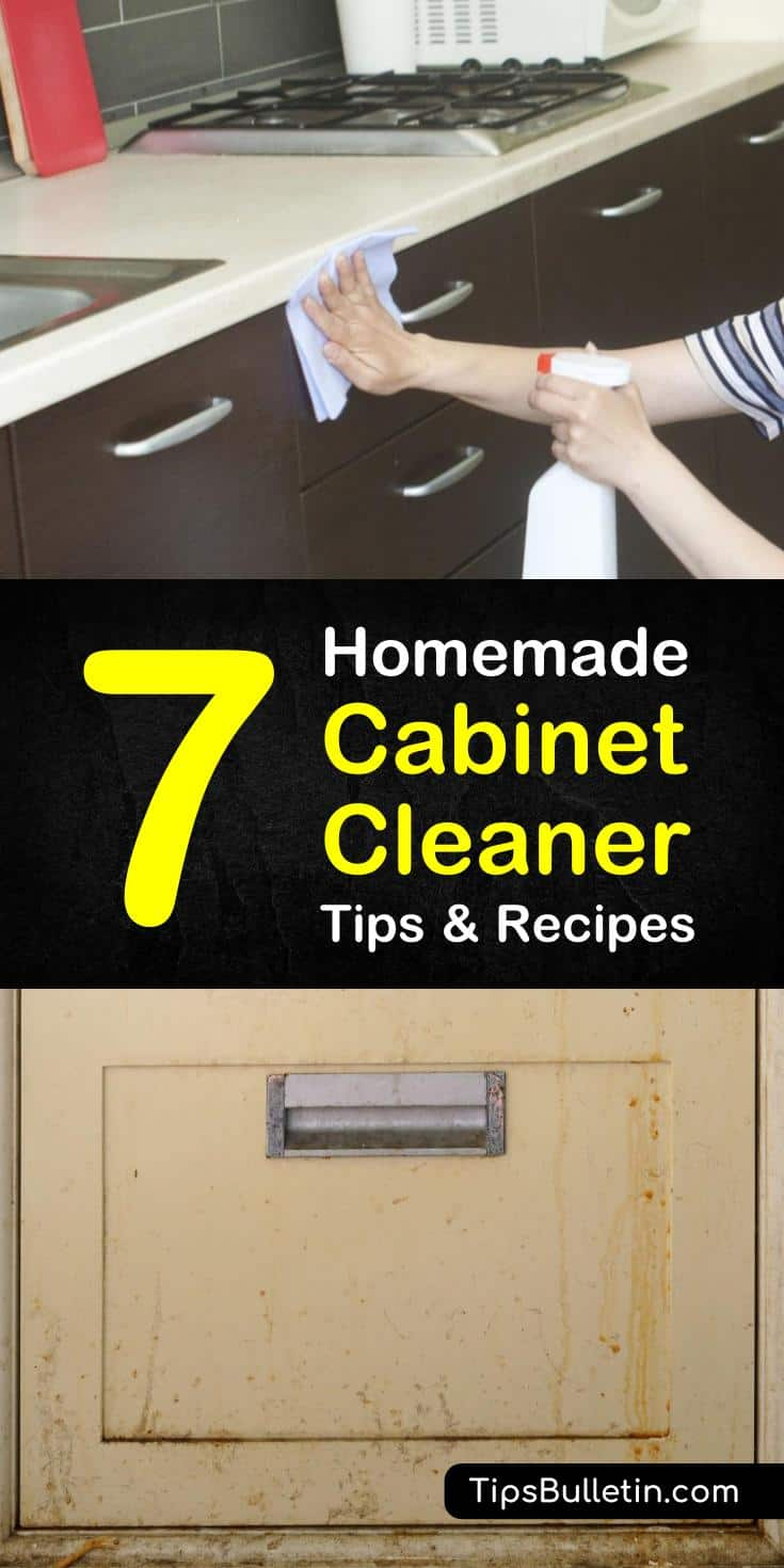 Learn how to make your own homemade cabinet cleaner to remove greasy stains from wood kitchen cabinets using our DIY recipes. Gather ingredients such as white vinegar, baking soda, and olive oils to start cleaning your wood surfaces. #kitchencabinets #cabinetcleaner