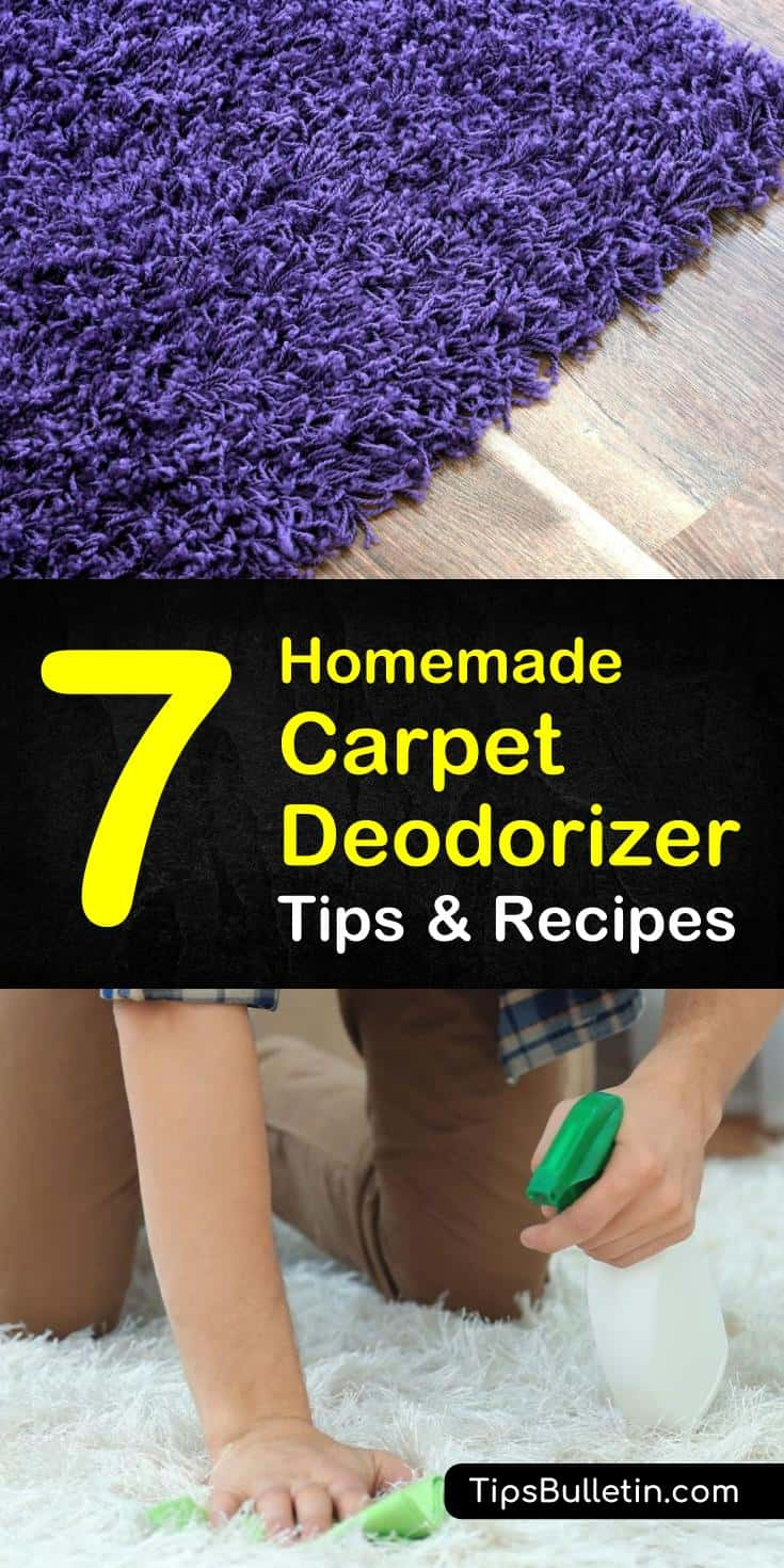 Find a way to create diy, natural carpet cleaning spray and powder with these easy tips and tricks. Use baking soda and essential oils to create a homemade carpet deodorizer and refresher at the same time! #carpetdeodorizer #carpetcleaner