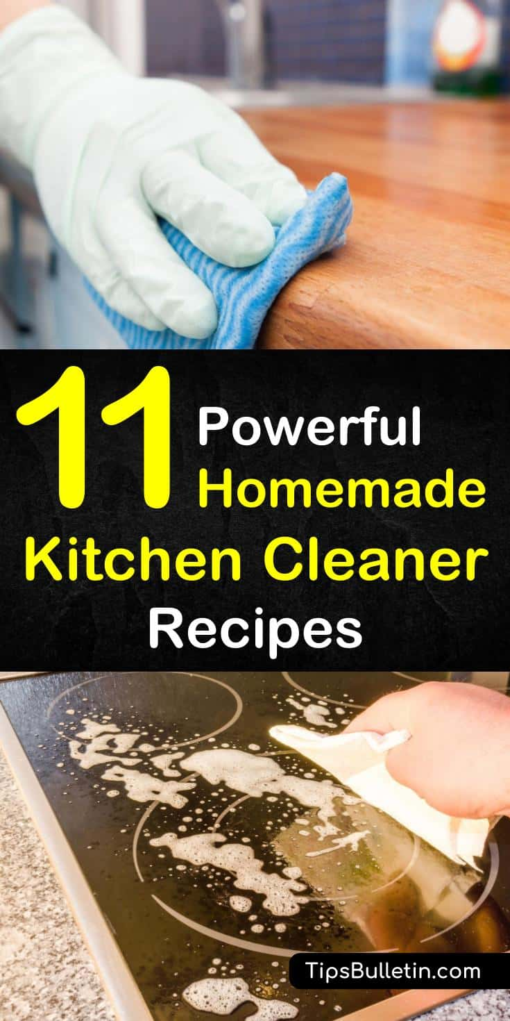 Learn how to make effective homemade kitchen cleaner recipes using natural ingredients like castile soap, tea tree essential oils, vinegar, and baking soda. Clean all your kitchen surfaces, including stainless steel with these simple DIY cleaning recipes. #kitchencleaners #naturallyclean #diycleaner