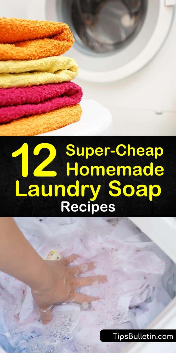 Our homemade laundry soap recipes are amazing for sensitive skin as they use all natural ingredients. We offer easy to make powder, pods, and liquid recipes that are safe for HE washers. #homemadelaundrysoap #laundry #soap #detergent
