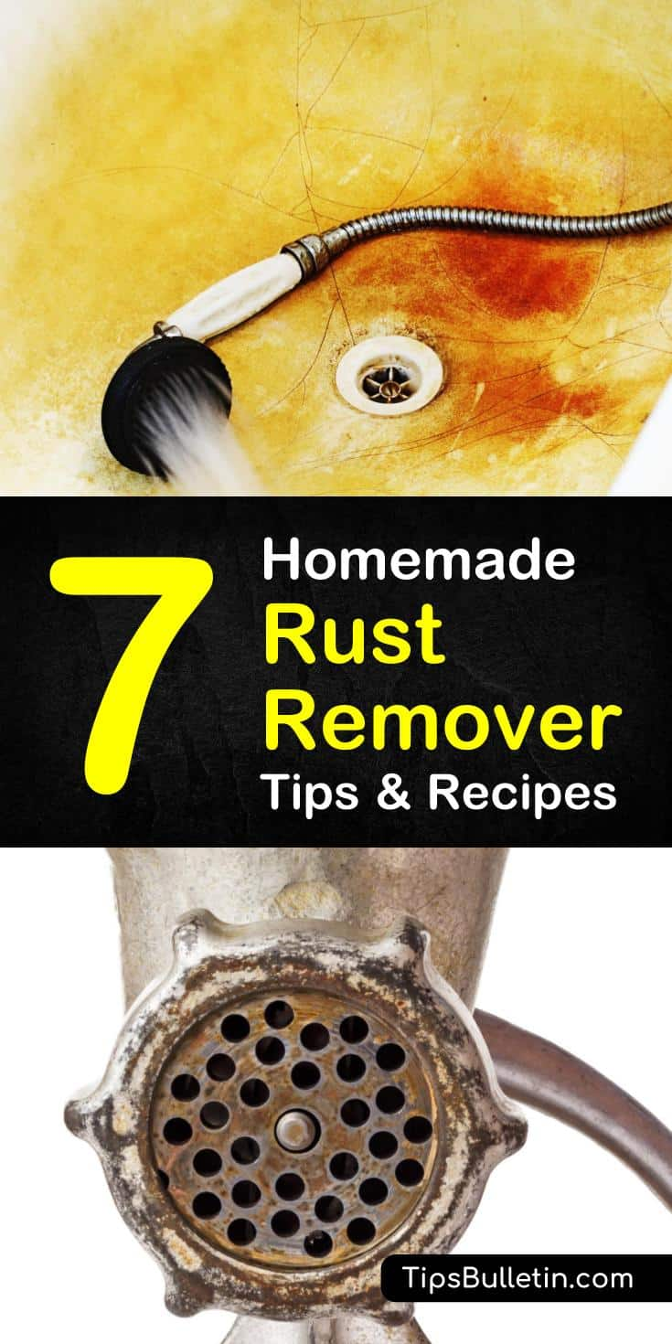 Learn how to get rust stains out of showers, stainless steel, and other metals with homemade rust remover. These cleaning tips will have your surfaces sparkling in no time! #rust #remover #diyrustremover #rustremoval