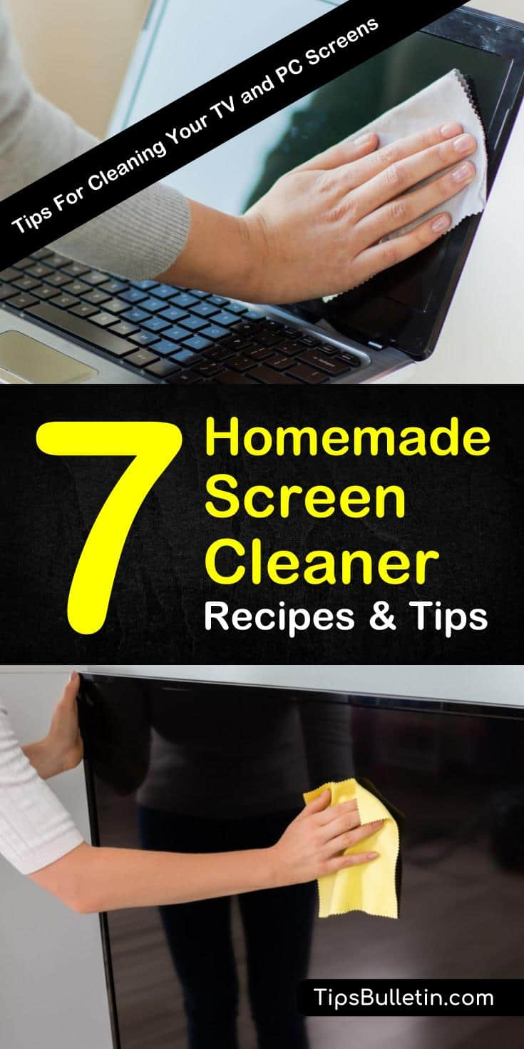 Find out how to clean computer screens, TVs, iPhones, and other types of electronics by making your own homemade screen cleaner. These DIY cleaning tips will teach you how to get rid of dust, fingerprint marks, and streaks from your phone screens. #touchscreen #laptop #screencleaner
