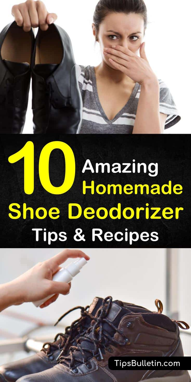 Try a homemade shoe deodorizer to get rid of stinky shoe smell using common products like baking soda, powder, essential oils, and tea bags. These DIY shoe deodorizer tips will teach you how to make a nifty spray or a shoe deodorizing sachet with a coffee filter and tea tree oil. #smellyshoe #deodor
