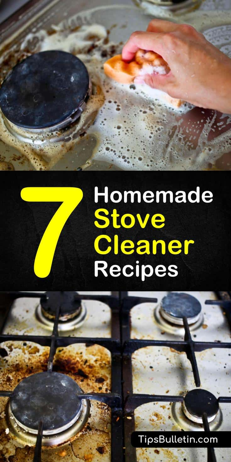 Quickly clean your stove top using one of our homemade stove cleaner recipes. Our easy to make recipes use ingredients like baking soda, white vinegar, and water to safely clean your glass top.#homemadecleaners #stove #cleaning #cleanstove
