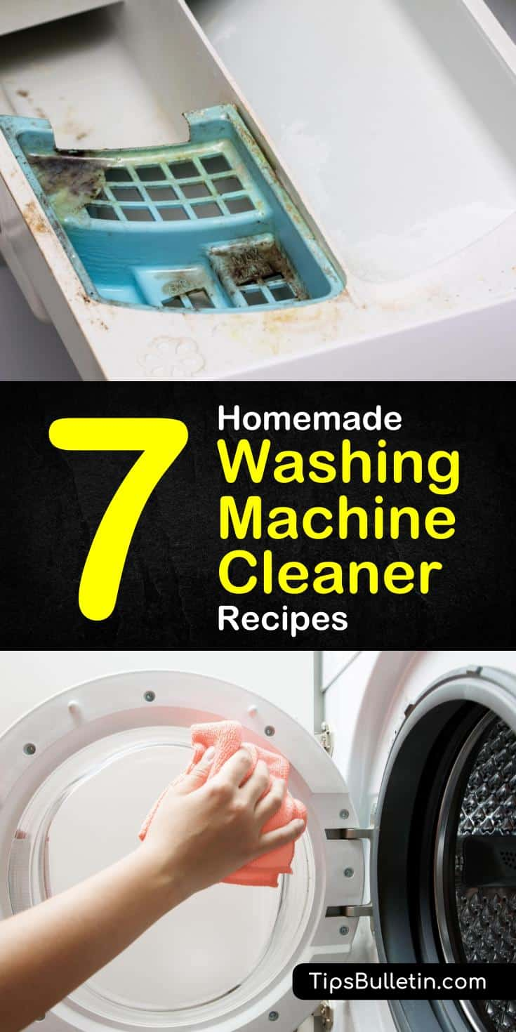 Learn how to make a homemade washing machine cleaner with these easy cleaning tips. Use baking soda, essential oils, and vinegar to keep your washing machines and clothes smelling fresh. #cleanwasher #toploader #frontloader #washingmachine
