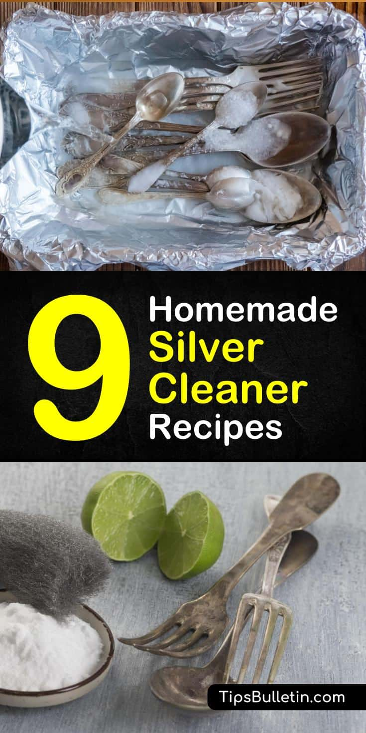 Learn how to remove tarnish off your favorite silver pieces with our amazing natural silver cleaner. Our DIY silver cleaner recipes use simple ingredients to restore your sterling silver. #homemadecleaners #cleaningtips #silverpolish