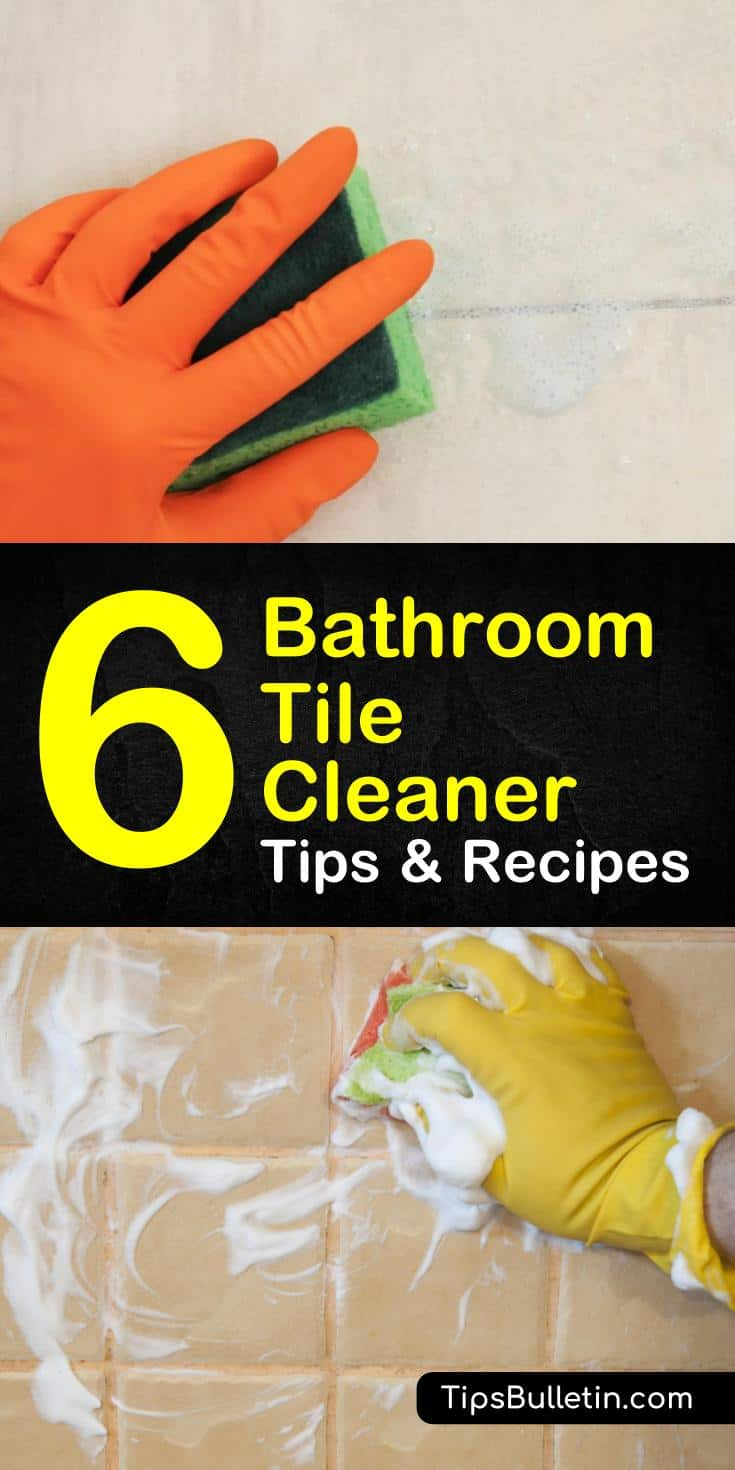 Learn how to make your own homemade bathroom tile cleaner with ingredients you can find around the home. These easy cleaning tips and tricks will help keep your tile sparkling clean! #bathroom #tilecleaner #DIYtilecleaner