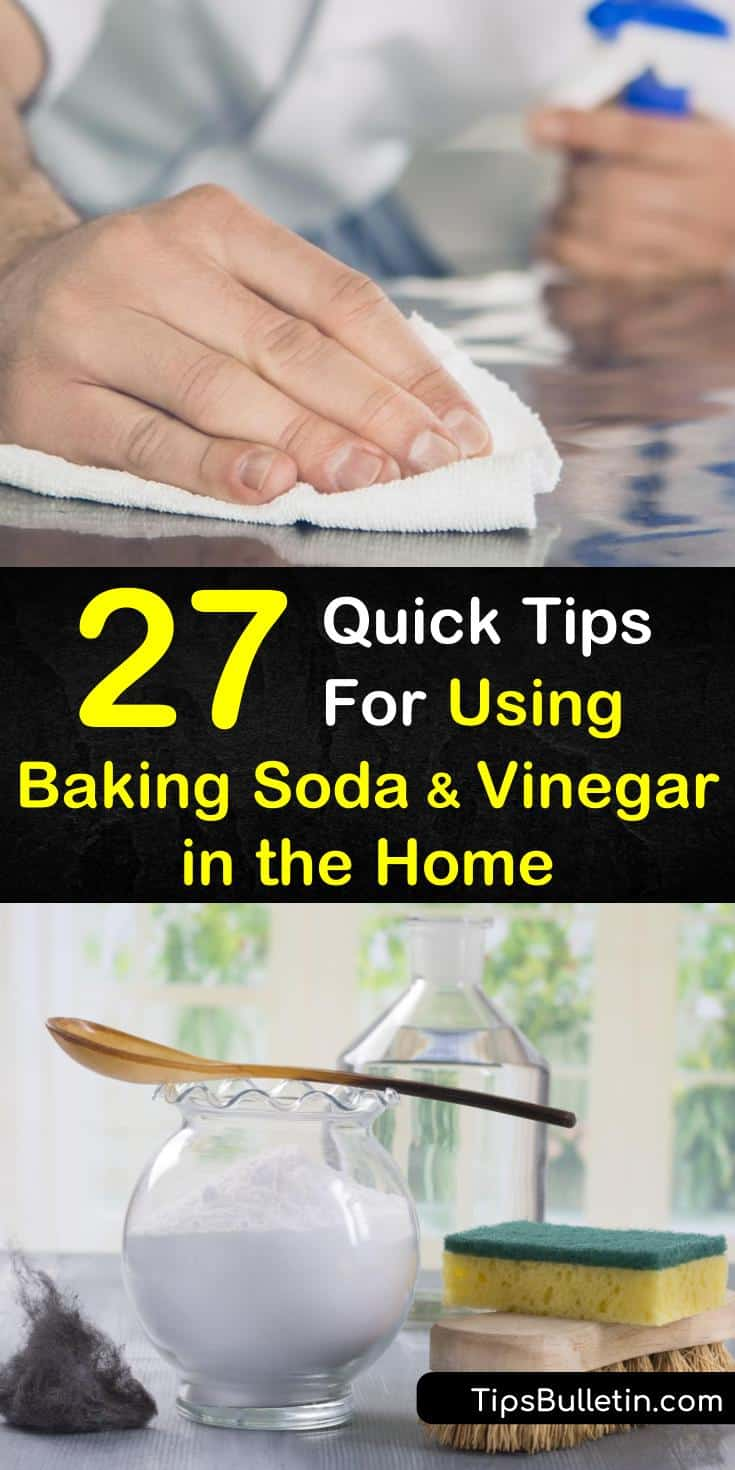 Discover how you can use baking soda and vinegar for cleaning your home. You can use it in the drain, in the laundry, and in the kitchen and bathroom. Learn to make a simple cleaner for cleaning your entire home. #bakingsodavinegar #bakingsoda #vinegar