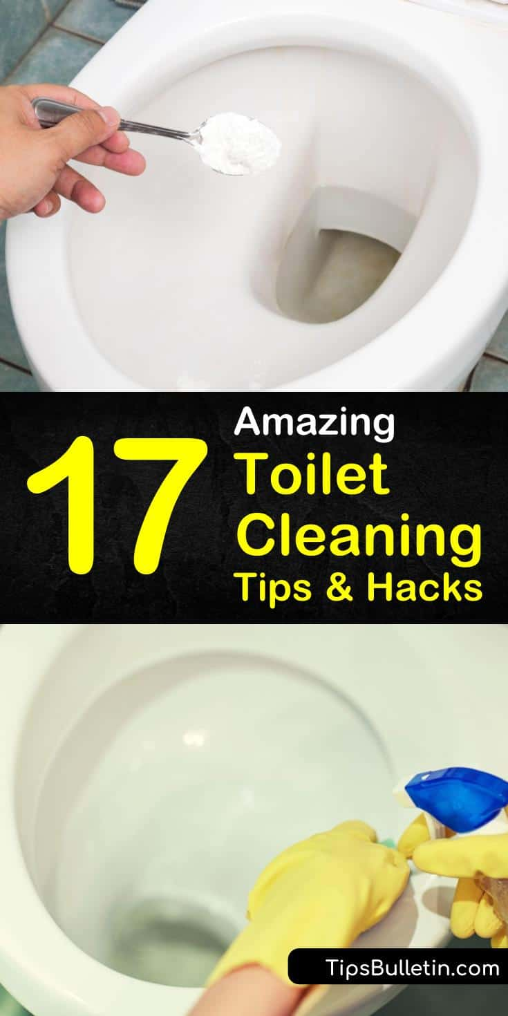 Learn how to clean a toilet bowl with simple recipes that use common household ingredients. Use one of our recipes with vinegar to clean and disinfect your tank and bowl and get it sparkling clean. #cleantoilet #toilet #cleaning #howto