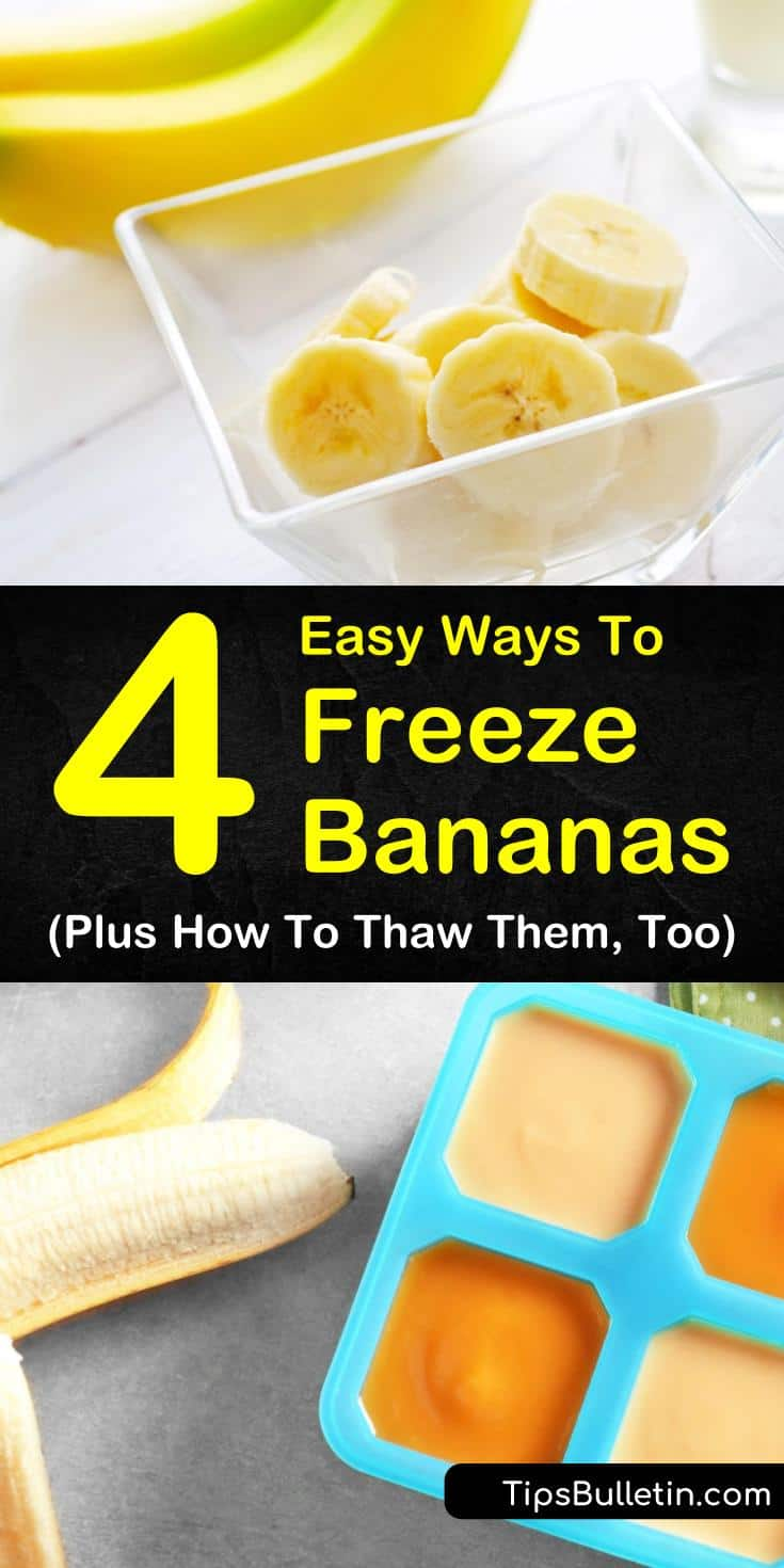 Learn how to freeze bananas to use for smoothies and for baking. Learn how to use frozen bananas for ice cream and for bread. Use blenders to mix frozen bananas with peanut butter for a delicious cold treat. #frozenbananas #freezebananas #freeze #bananas #recipes
