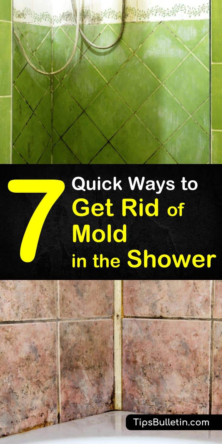 Learn how to remove mold in the shower with our cleaning tips. We show you how to get rid of mold using straightforward home solutions such as tea tree oil, white vinegar, baking soda, bleach, hydrogen peroxide, and water! #showermold #bathroom #mold #shower #diycleaner