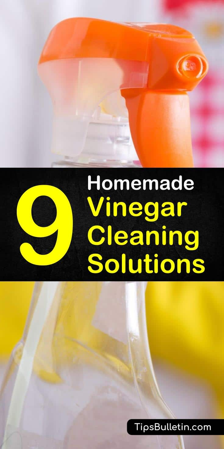 Many DIY cleaner recipes, including sprays, use vinegar as a main ingredient. Mixed with baking soda and essential oils a homemade vinegar cleaning solution is safe for floors, washing machines, and even scrubs through soap scum. #vinegarsolution #vinegarcleaningsolutions