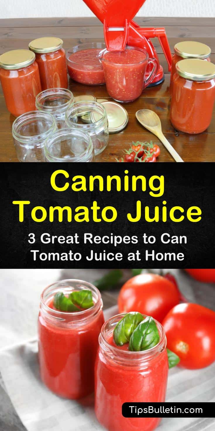 Find out how canning tomato juice works! These easy recipes require few ingredients, and our simple guide makes canning easy. #tomatojuice #canning #tomatojuicerecipes