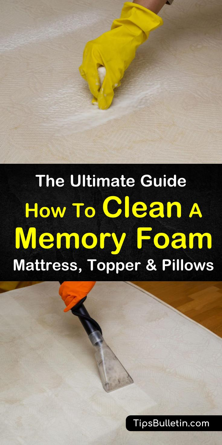 Tips and tricks for how to clean memory foam, whether it's your mattress, mattress topper, or memory foam pillow. Learn how to remove sweat, pet, and urine stains from your memory foam without damaging it. Discover everything you need to know with our ultimate guide. #memoryfoam #stainremoval #stain