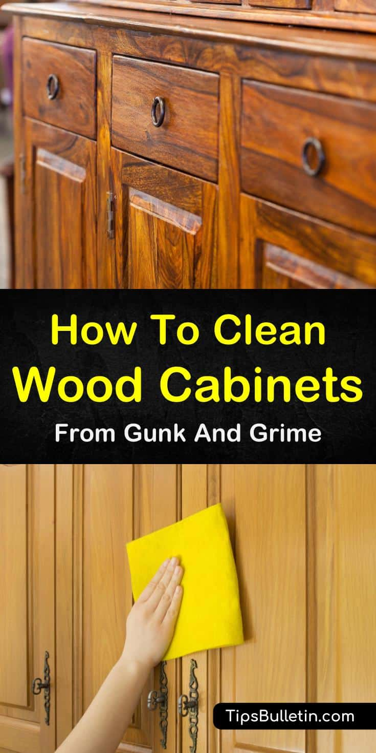 Learn how to remove dark grease stains from hardwood floors and cupboards! In our guide on how to clean wood cabinets, we show you the best way to naturally clean grease and dirt off your cabinet doors with vinegar and other DIY methods. #woodcabinets #woodcleaner #diycleaner