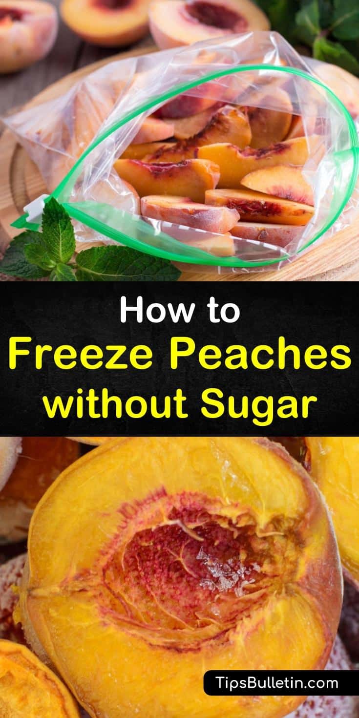 Find out how to freeze peaches the easy way! Our step by step guide will show you how to store your peaches for pie without sugar. With our help, you can combine whole frozen peaches with orange juice for smoothies and still be left with fruit fresh enough for cobbler! #peaches #freezing #fridge