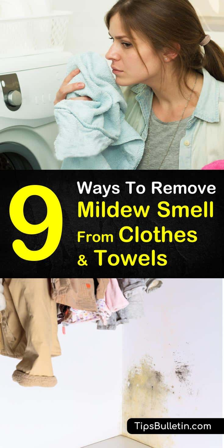 Tips and tricks on how to remove mildew smell from clothes. Learn how to get rid of that musty smell from your towels and garments using everyday household products like vinegar, baking soda, and lemon juice. Try up to nine different options, or choose your favorite one! #remove #mildew #smell #clot
