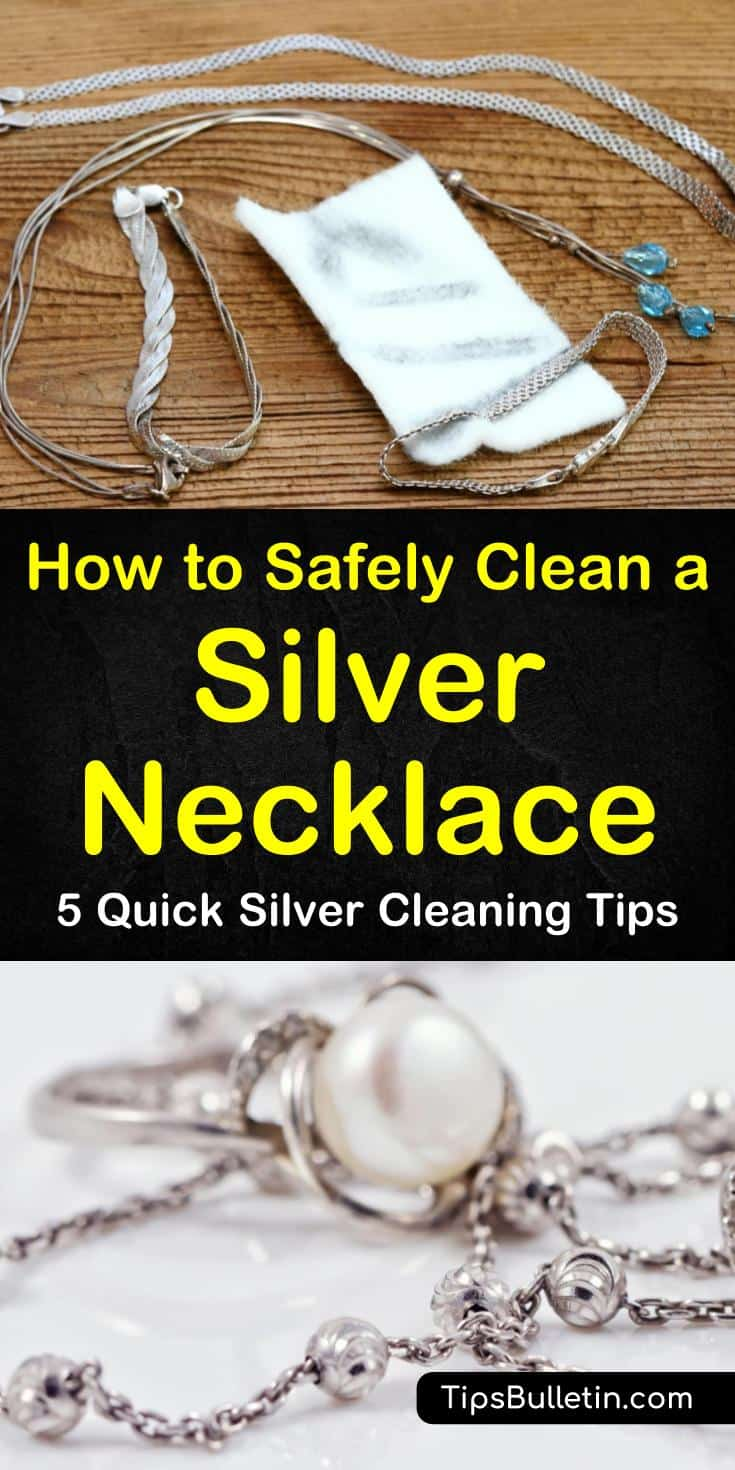 Find new techniques on how to clean a silver necklace using basic items like lemon juice and aluminum foil. Learn the best methods to use on soft metals like sterling silver jewelry and silver-plated necklaces. Remove tarnish with these easy cleaning solutions. #clean #silver #necklace #jewelry