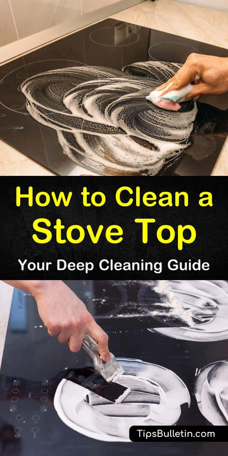 Find out how to clean a stove top from burners to grates no matter the type. Discover how to remove and individually clean the parts of gas and electric stoves. Use these step-by-step removals for stuck-on foods and oily residue using vinegar and baking soda. #clean #stovetops #glass #electric #gas