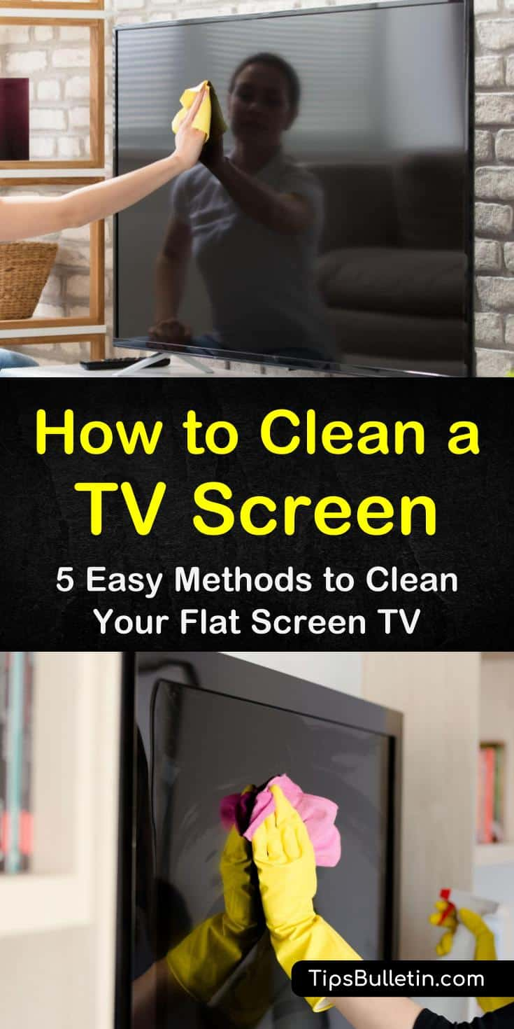 Learn the best ways to clean your TV screen without damaging it. Find out how to clean TVs using a microfiber cloth and baking soda. Add essential oils for a streak-free shine that removes sticky goo from one of your favorite electronics in the living room! #clean #tv #screen #lcd #ledtv