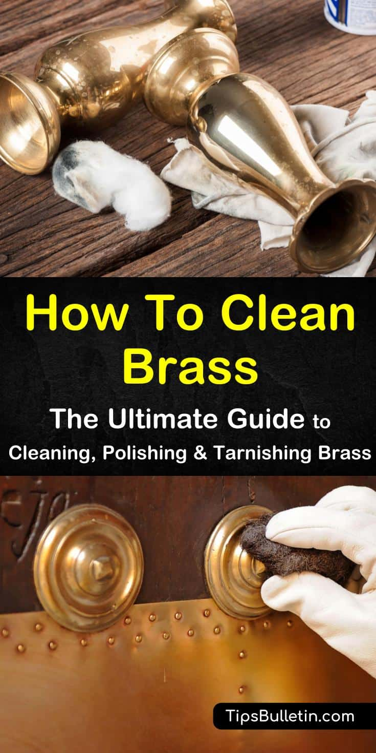 DIscover how to clean brass the simple and easy DIY way! Our guide shows you how to remove tarnish from lamps, candlesticks, and antique jewelry using basic hardware and household cleaners such as vinegar. #cleaning #brass #tarnish