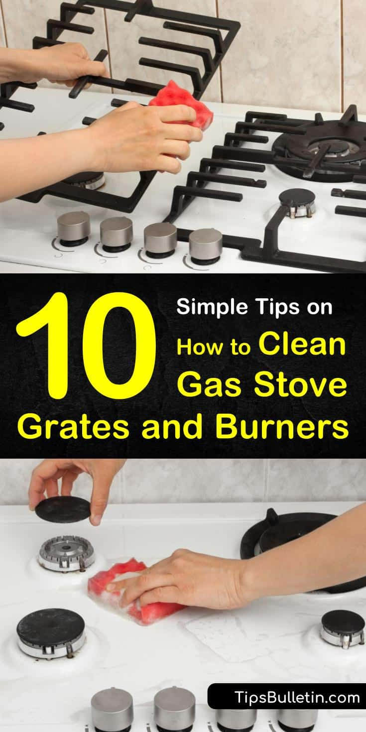 Discover how to clean gas stove grates naturally, without ammonia. Get your cast iron stove grates and stainless steel burners looking like new with vinegar and baking soda, and make your kitchen shine! #gas #stove #grates #cleaning