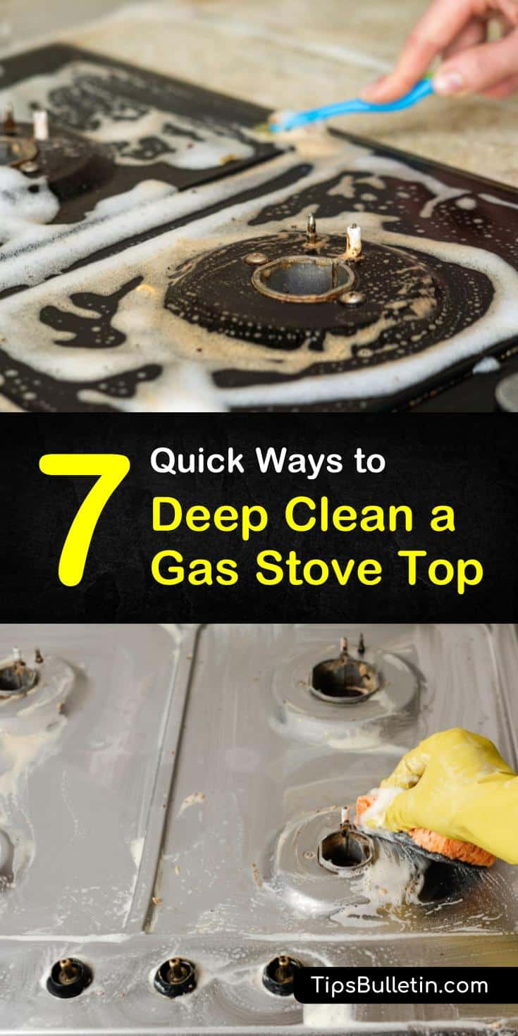 Find out how you can clean your gas stove top burners and grates with easy diy cleaning recipes. Using simple household ingredients like white vinegar and baking soda, you can quickly and cheaply clean away the grime and dirt. #gasstovecleaning #stovetop #cleaner