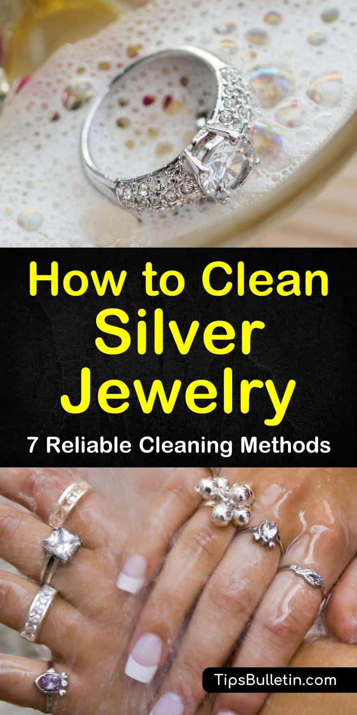 Find out how to clean silver jewelry at home with vinegar, with toothpaste, and without baking soda. Our guide to DIY silver jewelry cleaners gives you simple recipes to help you keep your necklaces with stones looking their best. #DIYCleaners #jewelry #silver #clean