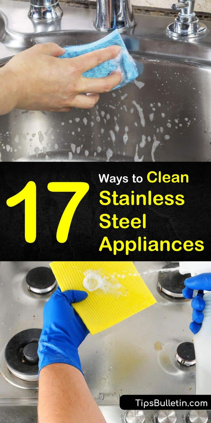 Try any of these 17 different methods to polish and clean your stainless steel. Find out how to clean stainless steel appliances like refrigerators and dishwashers. Learn how to steam clean microwaves using vinegar and water. #stainlesssteel #appliances #clean #steel