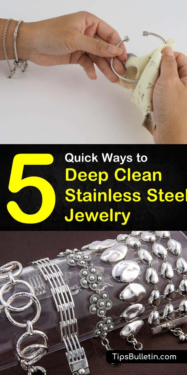 Try these quick and easy tricks on how to clean stainless steel jewelry. Use common ingredients like baking soda and toothpaste to clean and polish your rings, watches, and bracelets. These simple solutions will make cleaning your stainless steel jewelry a breeze. #clean #stainless #steel #jewelry