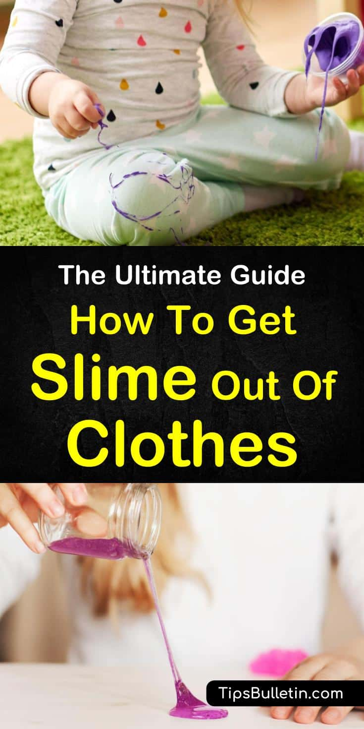 Learn how to get slime out of clothes using everyday stain removers like vinegar and dawn dish soap. Follow the step-by-step cleaning tips to remove slime from clothing and other fabrics. Find out how to make fluffy slime with the kids after all that cleaning. #slime #stainremover #clothes